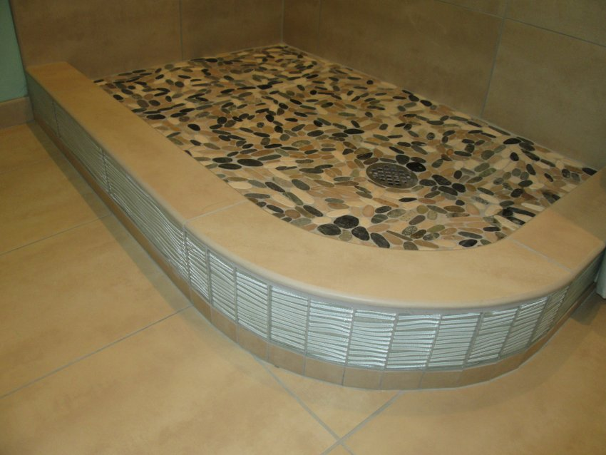 Custom shower curb